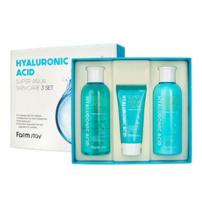 Набор средств по уходу за кожей с гиалуроновой кислотой FarmStay HYALURONIC ACID SUPER AQUA SKIN CARE 3SET: фото