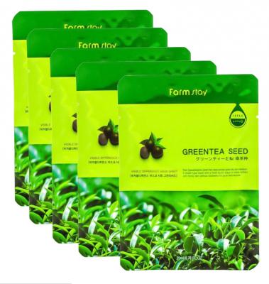 Набор тканевых масок для лица с экстрактом семян зеленого чая FARMSTAY GREEN TEA SEED VISIBLE DIFFERENCE MASK SHEET 23мл*5шт: фото